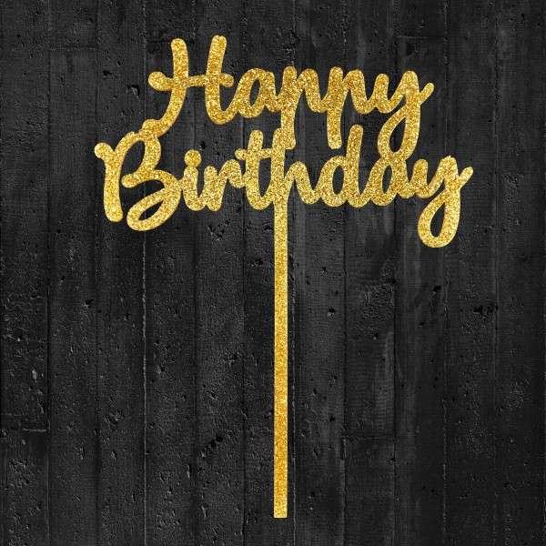 Cake-Topper Glitzergold Happy Birthday