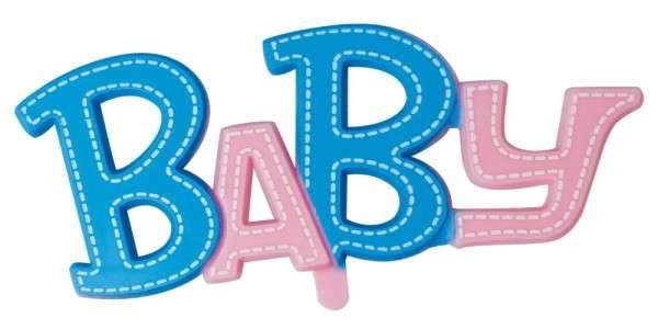 Tortendekoration Baby Schriftzug