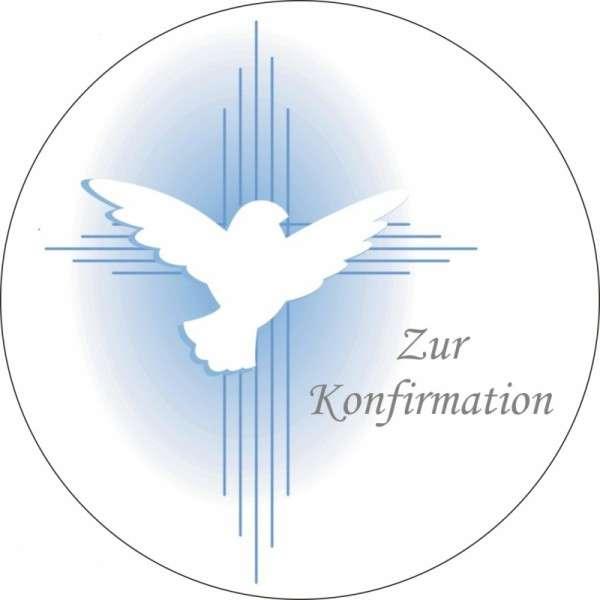 """Tortenaufleger Taube """"Zur Konfirmation"""" 100mm 12 Stck"""