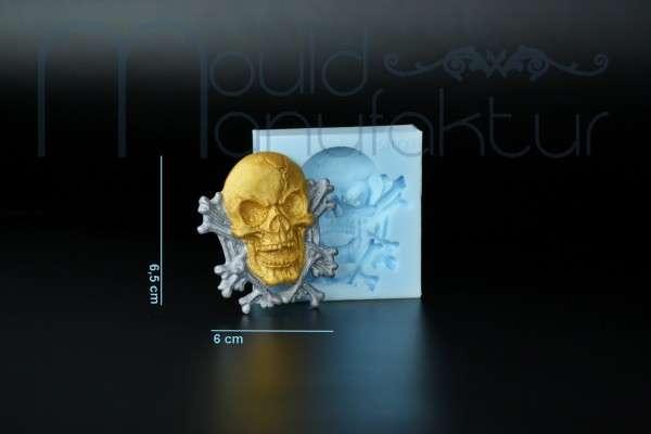Silikonform Totenkopf mit Knochen