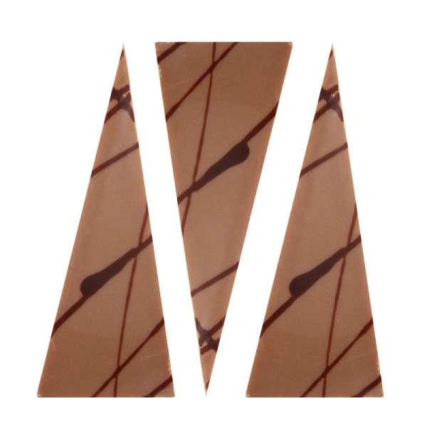 Schokoladendeko Dreiecke braun mit Linien LxB ca.70x30mm 261 Stck
